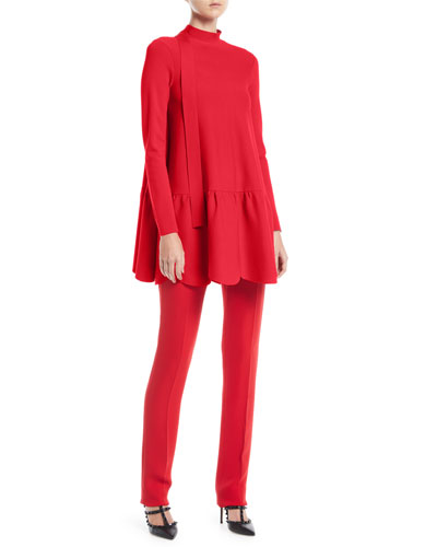 Mock-Neck Long-Sleeve Scalloped Hem Knit Top and Matching Items