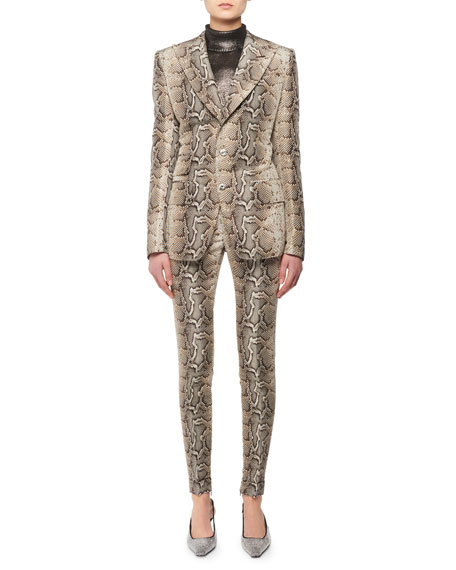 Two-Button Snake-Print Stretch-Cotton Twill Jacket