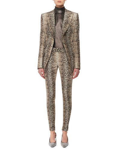 Snake-Print Stretch-Cotton Twill Skinny Pants and Matching Items