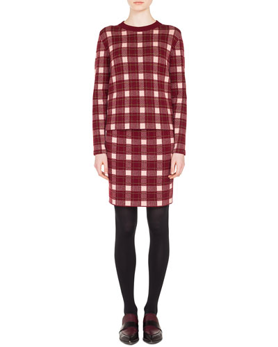 Crewneck Long-Sleeve Check Cashmere-Blend Sweater and Matching Items