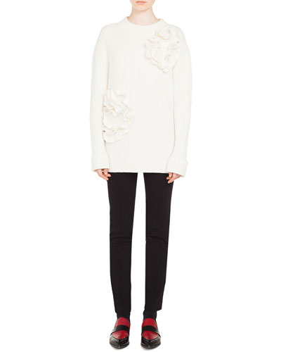 Flower-Applique Crewneck Ribbed Wool-Cashmere Sweater  and Matching Items