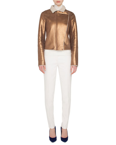 Swan Metallic Curly Lamb Shearling Jacket w/ Asymmetric Front Panel and Matching Items