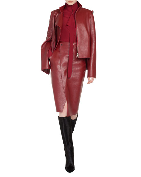 Steffon Mock-Neck Asymmetric Front Panel Deer-Leather Short Jacket