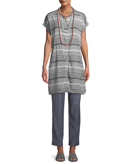 Ihsan Short-Sleeve Mixed-Check Easy Tunic/Dress