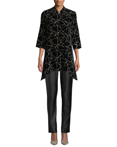Triangle Devore Velvet Button-Front Tunic  and Matching Items