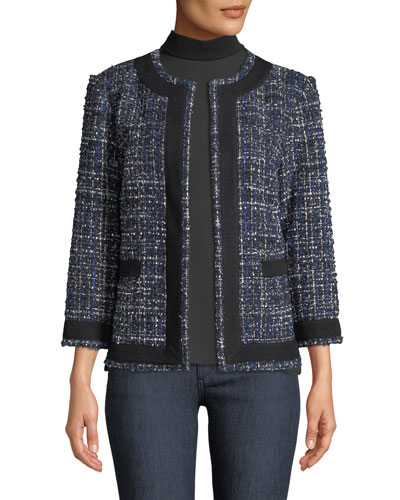 Tweed Knit Jacket w/ Border Trim and Matching Items