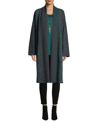 Oxidized Boiled Wool Long Kimono Coat w/ Side Slits, Plus Size and Matching Items