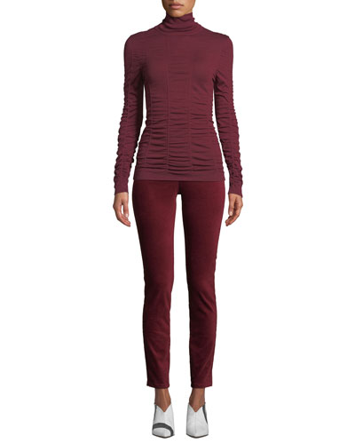 Turtleneck Long-Sleeve Scrunched-Up Top and Matching Items