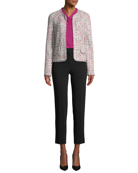 St. John Collection Modern Pointelle Tweed Knit Jacket w/ Braided Trim