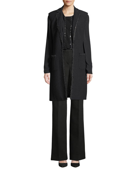 St. John Collection Soft Boucle Knit Vest w/ Patch Pocket & Chain Trim