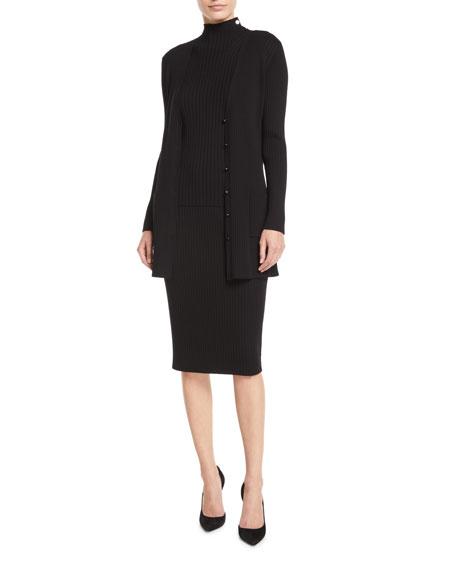 St. John Collection Sleeveless Flat-Rib Mock-Neck Sweater