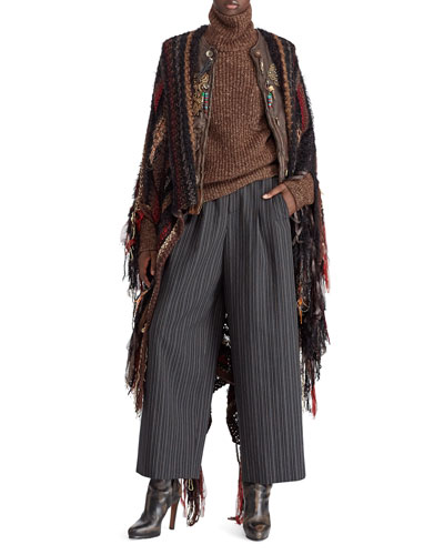 50th Anniversary Chenille Textured Stripe Poncho w/ Fringe and Matching Items