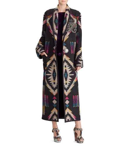 Sauville Embellished One-Button Tapestry-Intarsia Long Coat  and Matching Items