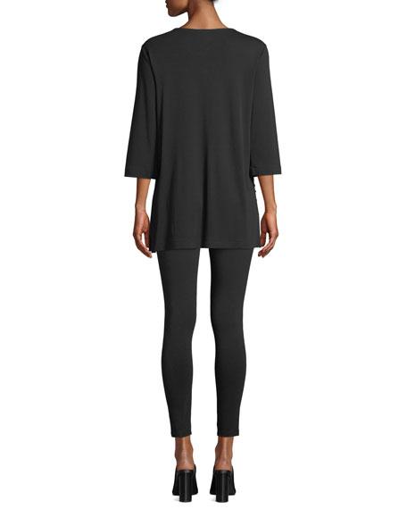 Joan Vass V-Neck 3/4-Sleeve Sequined-Front Cotton Interlock Tunic