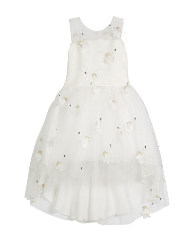 Embroidered Illusion-Neck Party Dress, Size 4-6X and Matching Items