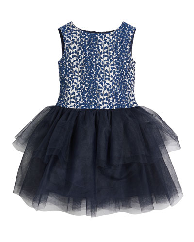 Daisy Tulle-Skirt Sleeveless Dress, Size 2-8  and Matching Items