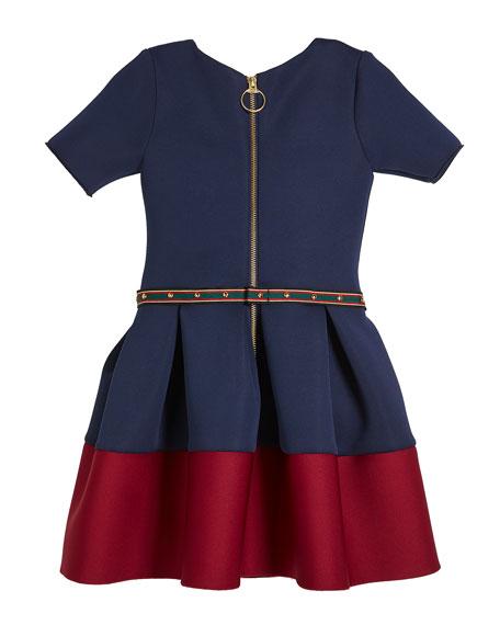 Annie Contrast-Hem Neoprene Scuba Knit Dress w/ Studded Belt, Size 4-6X