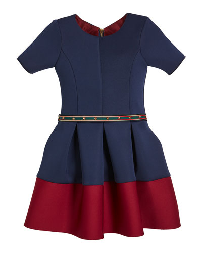 Annie Contrast-Hem Neoprene Scuba Knit Dress w/ Studded Belt, Size 4-6X and Matching Items