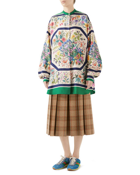 Festival Floral-Print Silk Twill Guru Shirt