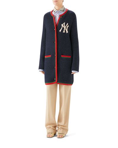 NY Yankees Patch Crewneck Cardigan w/ Back Logo Applique and Matching Items