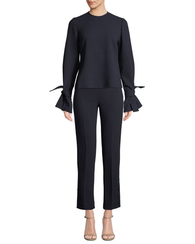 Tie-Sleeve Crewneck Stretch-Wool Top and Matching Items