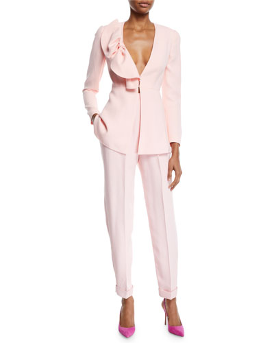 Deep-V Bow-Detail Long-Sleeve Crepe Jacket and Matching Items