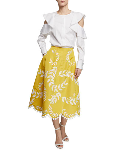 Ruffled Cold-Shoulder Long-Sleeve Cotton Blouse and Matching Items