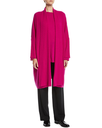 Boat-Neck Long-Sleeve A-Line Long Sweater  and Matching Items