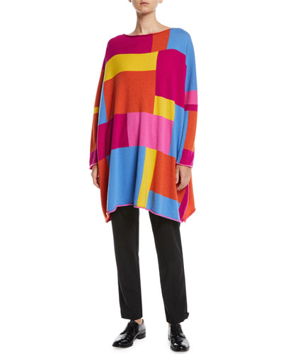 Boat-Neck Geo-Intarsia Colorblock Cashmere Pullover Sweater and Matching Items