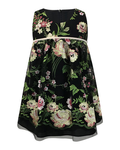 Sleeveless Floral-Embroidered Dress  Size 2-6  and Matching Items