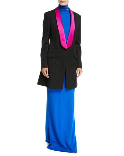 Turtleneck Long-Sleeve Body-Con Wool-Jersey Evening Gown and Matching Items