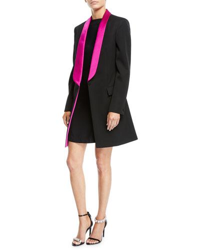 Tux-Lapel One-Button Long Wool Gabardine Blazer Coat  and Matching Items