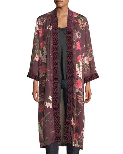 Velvet Mix Napa Fields Printed Kimono, Plus Size  and Matching Items