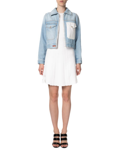 Zip-Front Cropped Denim Jacket with Embroidery and Matching Items