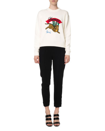 Jumping Tiger Embellished Mock-Neck Sweater and Matching Items