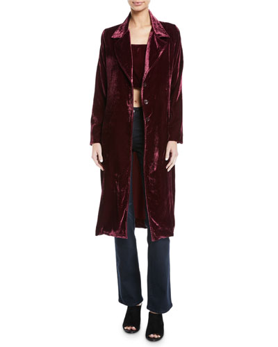 Long Velvet 3-Button Coat  and Matching Items