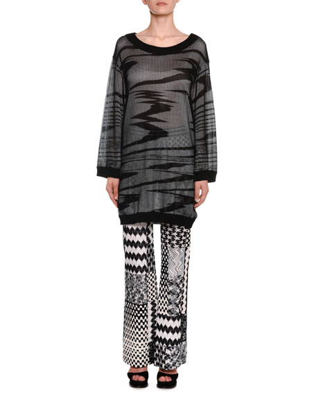Missoni Boat-Neck Long-Sleeve Space-Dye Mesh Overlay Tunic