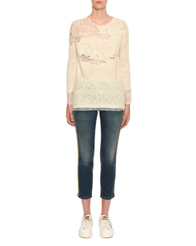 Long-Sleeve Lace-Inset Pashmina Knit Top and Matching Items
