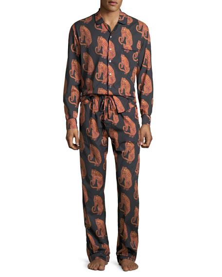 Desmond & Dempsey Men's Tiger-Print Lounge Shirt