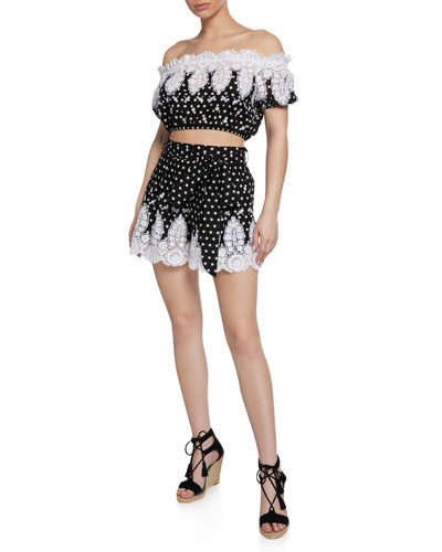 Liana High-Waist Polka-Dot Cotton Shorts w/ Lace and Matching Items