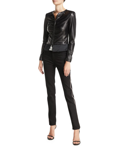 Emporio Armani Slim Ruched Leather Zip-Front Jacket
