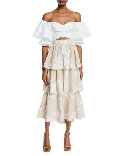 Pearl City Off-The-Shoulder Bow-Back Puff-Sleeve Crop Top and Matching Items