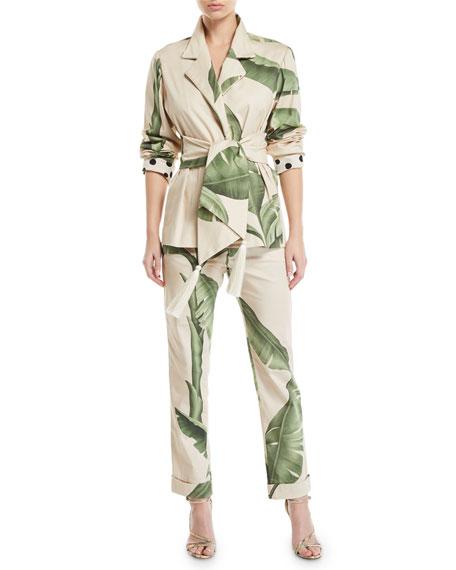 Johanna Ortiz Palm-Print Canvas Wrap Jacket
