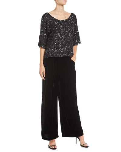 Velvet Wide-Leg Pants  and Matching Items