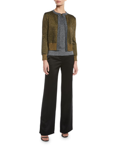 Open-Front Metallic-Knit Cardigan and Matching Items
