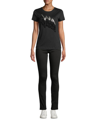 Lightning-Fringe Crewneck Short-Sleeve Cotton Tee and Matching Items