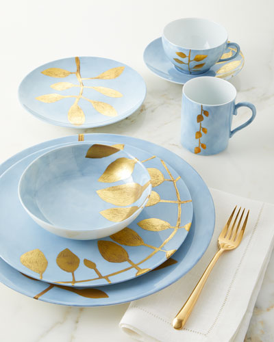 Daphne Lavande Gold-Leaf Dinner Plate  Blue and Matching Items