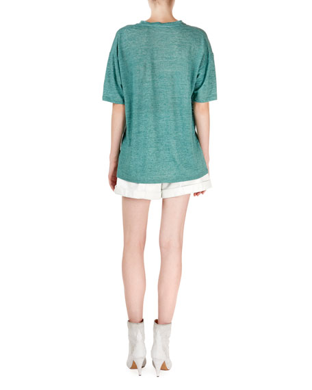 Isabel Marant Maree Heathered V-Neck Short-Sleeve Tee