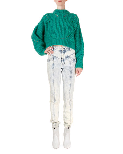 Irren Mock-Neck Cropped Chunky-Knit Sweater and Matching Items