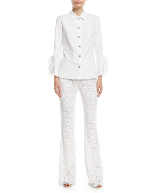 Michael Kors Collection Jewel-Buttons Long-Sleeve Classic Stretch-Poplin Shirt
